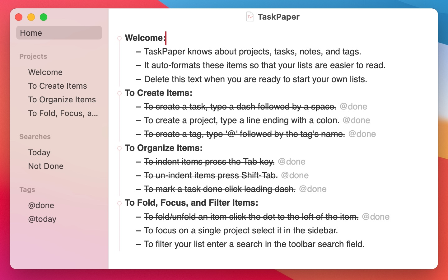TaskPaper screenshot